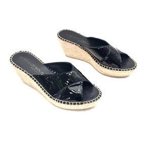 André Assous Black Patent Leather Esparille Mules